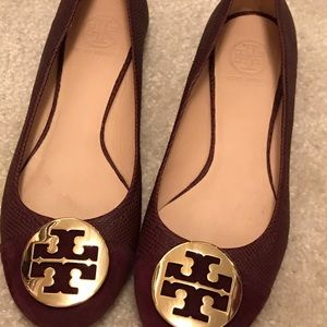 NEW Tory Burch Burgundy Suede Leather Flat Sz  9.5